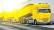 canvas print picture - trailer trucks on European freight roads