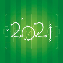 2021 New Year Soccer Strategy Arrows Green Field Background