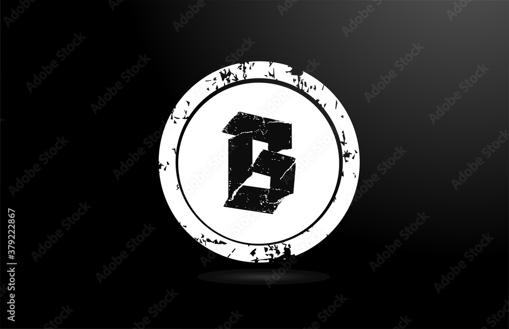 black and white B alphabet letter logo icon. Creative vintage design badge for business and company