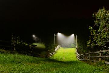 A bridge or a footpath between wooden board fences going downhill in green grass under streetlights in a foggy dark night