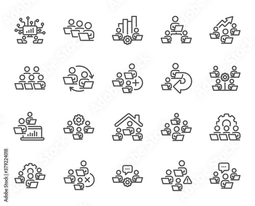 Obraz Teamwork line icons. Working at home, online team worker, remote office. Artificial intelligence, growth chart, online home job line icons. Remote team work, people study, programmers. Vector - fototapety do salonu