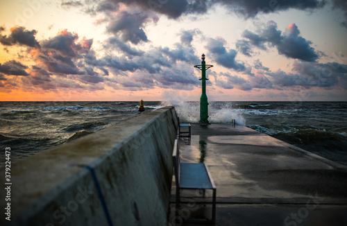 Morze Bałtyckie  Poprt Reda Zachód słońca Sunset