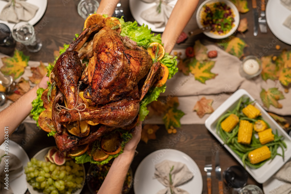Fototapeta Top view of hands of young woman passing roasted turkey to her husband