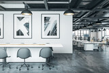 Fototapeta Kawa jest smaczna - Coworking office interior with meeting table