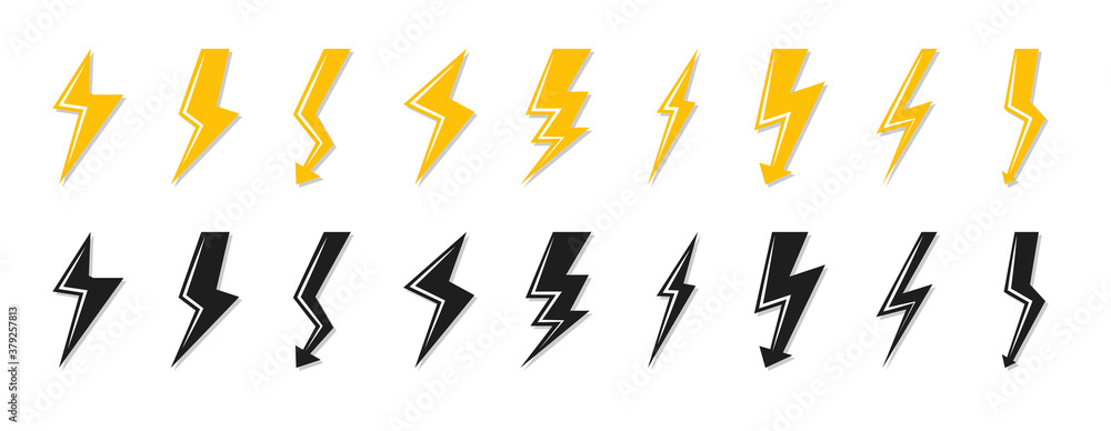 Fototapeta Set of black and yellow lightning bolt icon. Electrical strike sign or energy symbol and thunder electricity. Template logo voltage, power speed. Flash emblem shiny shock Isolated vector illustration
