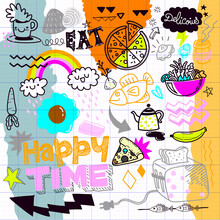 Food  Doodle Drawing Collection.Hand Drawn Vector Doodle Illustrations In Colorful Cartoon Style.