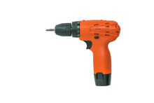 Orange Cordless Drill Isolated...