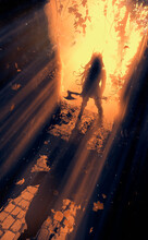 The Silhouette Of A Female Warrior Who Stands With An Axe In Her Hands At The Entrance To A Dark Dungeon, The Bright Rays Of The Sun Shine On Her Back. 2D Illustration.