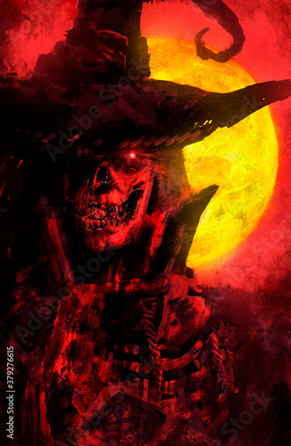 Fotomural A creepy, bloody, sinister skeleton in a hat with a bright demonic eye looks at the viewer with fury and passion against the background of a bright yellow moon