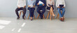 Group of people waiting in line for job interview or office workers waiting for boss's invitation