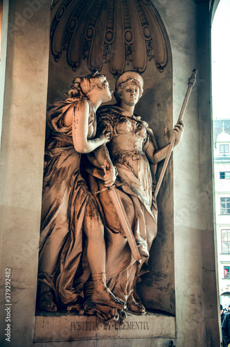 Wien, Austria - The allegoric statue symbolizes the Maria Theresa's motto 'Justi Canvas Print