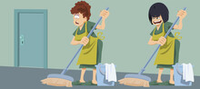 Housekeeper With Bucket And Mop. Woman In Uniform. Cleaning Services.