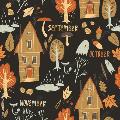 Obraz na plátně Fall seamless pattern with cozy nature elements.