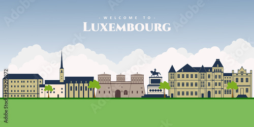 Obraz Panorama of Luxembourg. Top view of Luxembourg with famous landmark for tourists destination. Old quarter buildings, National Museum History and Art, Grand Ducal Palace and Guillaume II statue. - fototapety do salonu