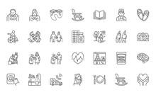 Senior People Flat Line Icons ...