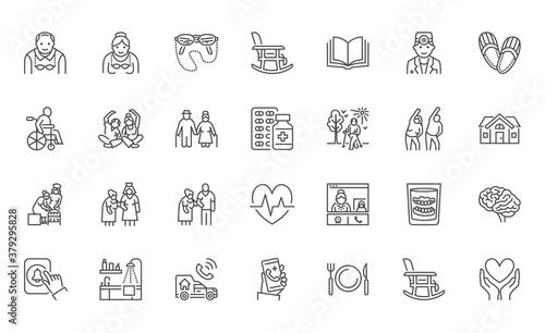 Senior people flat line icons set Canvas