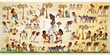 Life In Ancient Egypt, Frescoes. Egyptians History Art. Hieroglyphic Carvings On Exterior Walls Of An Old Temple. Agriculture, Workmanship, Fishery, Farm