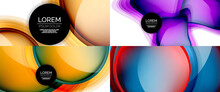 Glass Fluid Shapes Abstract Backgrounds. Geometric Liquid Bubble Templates