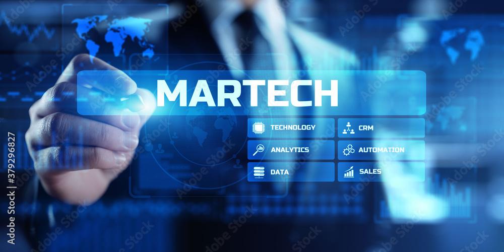 Fototapeta MARTECH, Marketing technology business concept on virtual screen dashboard.
