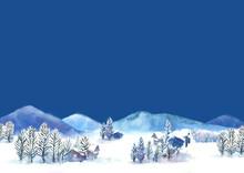 水彩で描いた雪景色の...