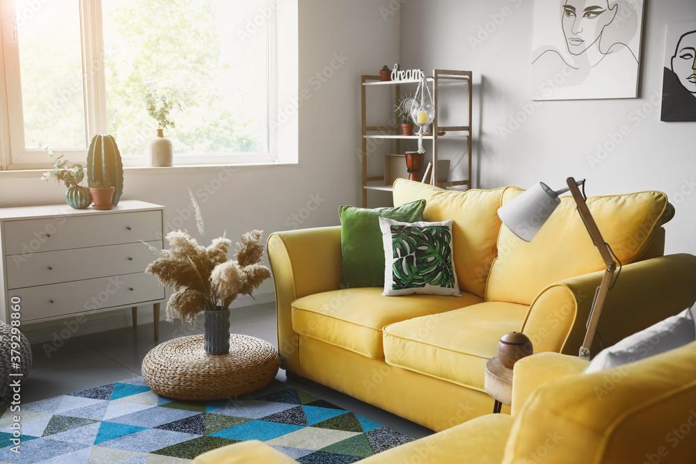 Fototapeta Interior of modern room with comfortable sofa