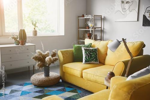 Fototapeta Interior of modern room with comfortable sofa obraz