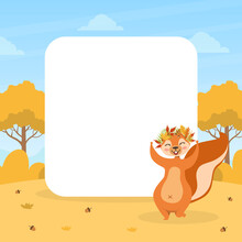 Cute Squirrel In Wreath Of Colorful Leaves With Blank Empty Banner, Wild Animal Character On Autumn Landscape Vector Illustration
