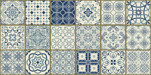 Collection Of 18 Ceramic Tiles In Turkish Style. Seamless Colorful Patchwork From Azulejo Tiles. Portuguese And Spain Decor. Islam, Arabic, Indian, Ottoman Motif. Vector Hand Drawn Background