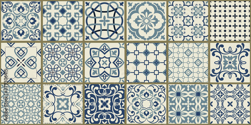 Obraz na plátně Collection of 18 ceramic tiles in turkish style