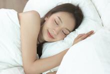 Asian Women Sleeping And Sweet...