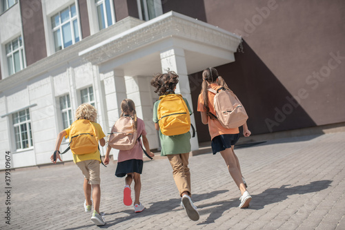 Cuadros en Lienzo Children with backpacks on their way to the lessons