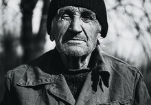 Bw Portrait Of Grandfather In ...