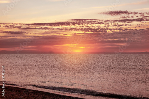 Fototapeta Picturesque view of beautiful sea at sunset. Summer vacation obraz