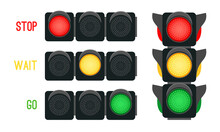 Traffic Lights Concept. Safety Signals For Driving Transport In City, Urban Safety With Semaphores, Vector Illustration Stoplights For Intersection Street Isolated On White Background