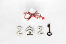 Gift With Red Striped Ribbon, Number Two Thousand Twenty One From House Digits And Key. Conceptual Happy New Year 2021 Congratulations