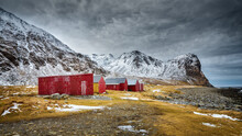 Winter Landscape With Red Barn...