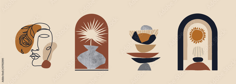 Fototapeta Modern minimalist abstract aesthetic illustrations. Bohemian style wall decor. Collection of contemporary artistic prints.