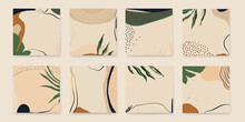 Abstract Artistic Templates. Vector Set Of Abstract Backgrounds In Minimal Trendy Style. Soft Pastel Colors.