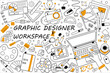 Graphic designer workspace doodle set. Collection of hand drawn sketches templates patterns of graph design equipment. Creative occupation and creation of visual digital products illustration