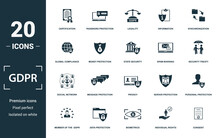Gdpr Icon Set. Monochrome Sign Collection With Certification, Password Protection, Legality, Information And Over Icons. Gdpr Elements Set.