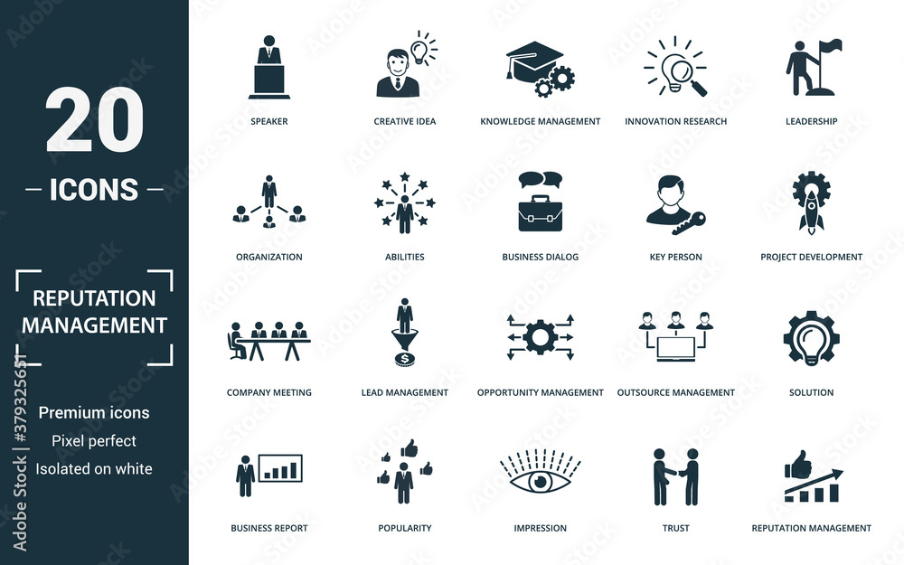 Fototapeta Reputation Management icon set. Monochrome sign collection with speaker, creative idea, knowledge management, innovation research and over icons. Reputation Management elements set.