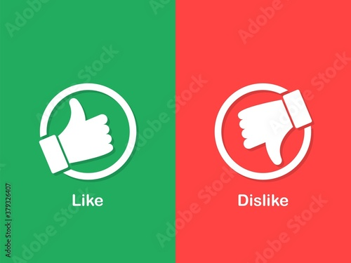 Thumbs up and down icon Fototapet