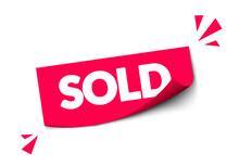 Vector Illustration Modern Red Sold Sticker For Webshop