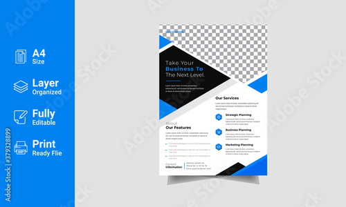 Modern corporate Business style Flyer Design template with blue color scheme