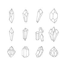 Hand Drawn Collection Of Golden Crystals, Gems, Gemstones And Diamonds. Vector Isolated Illustration. Celestial Boho Elements.