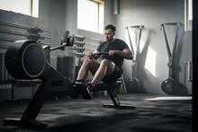 Athletic Male Do Hard Exercise...