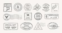 Christmas Vintage Rubber Stamps, Mail Postmarks, Vector Winter Symbols, Xmas Floral Holidays Postage Design Elements