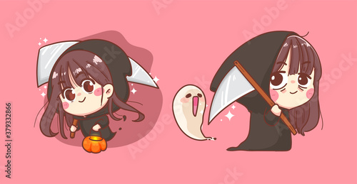 Happy Halloween and angel of death or soul reaper on background with cute character design Wallpaper Mural