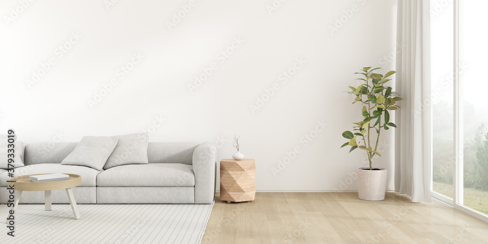 Fototapeta 3d render of modern living room with sofa on wooden floor, Empty wall with large window on nature background.