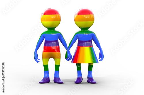 Fototapeta Rainbow flag couple holding hands isolated obraz
